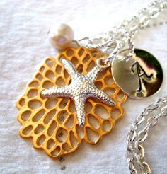 Silver Starfish Necklace Pearl Necklace Hand by CharmAccents, $25.00