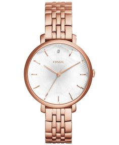 Fossil Women's Incandesa Diamond Accent Rose Gold-Tone Stainless Steel Bracelet Watch 36mm ES3860