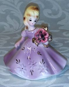 Vintage Josef Originals February Amethyst Birthday Girl Flower Figurine RARE