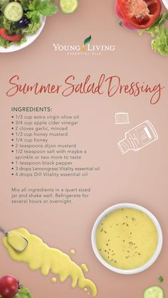 Lemongrass Vitality - Do you need a yummy summer salad dressing? Check out this healthy recipe using Lemongrass and Dill Vitality essential oils! Easy Cooking, Healthy Cooking, Cooking Recipes, Healthy Oils, Healthy Drinks, Cooking With Essential Oils, Young Living Essential Oils, Lemongrass Essential Oil Uses, Young Living Vitality