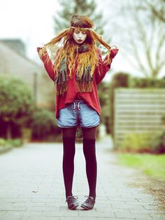 I'm obsessed with the tights with shorts look this winter.