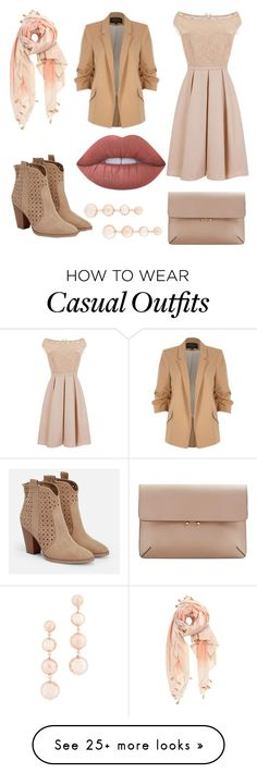 """""""Beige Casual Formal meet up"""" by aurora-agrest on Polyvore featuring Michael Stars, River Island, JustFab, Little Mistress, MANGO, Lime Crime, Rebecca Minkoff, casual, simple and formal"""