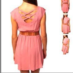 Cross back, belted dress.