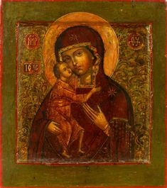 Detailed view: B032. Virgin of Fyodorov (Fyodorovskaya)- exhibited at the Temple Gallery, specialists in Russian icons