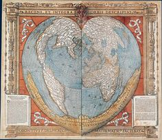 Map showing the world and Australia. Engraved on wood with watercolor. (Paris 1536)