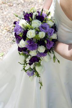 Wedding bouquet- dark blue, light purple carnations, and white floraol mix-Cascading Bridal Bouquet
