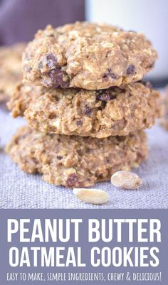 Peanut Butter Oatmeal Cookies are sure to please the whole family! Chewy, yet light, filled with dark chocolate chips, these cookies are addictive.   Super easy to make, you only need a few simple pantry ingredients.    They are WHOLESOME, made without refined sugars and loaded with healthy OATS! --------- #oats #oatmeal #oatmealcookies #cookies #chocolatechips #darkchocolate #healthy #healthycookies #healthysnack #snack #backtoschool #kidssnack #easy #peanutbutter Easy Cookie Recipes, Donut Recipes, Best Dessert Recipes, Delicious Recipes, Breakfast Recipes, Yummy Food, Bar Recipes, Easy Desserts, Breakfast Ideas