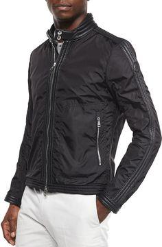 Moncler Daquin Quilted Front-Zip Nylon Moto Jacket, Black