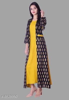 Checkout this latest Kurtis Product Name: *Women Rayon Jacket Kurta Solid Yellow Kurti* Fabric: Rayon Pattern: Solid Combo of: Single Sizes: S, M, L, XL, XXL, XXXL Easy Returns Available In Case Of Any Issue   Catalog Rating: ★4.1 (392)  Catalog Name: Women Rayon Jacket Kurta Solid Orange Kurti CatalogID_490984 C74-SC1001 Code: 764-3525950-0141