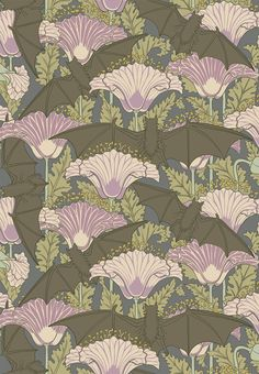 Bat and Poppy, designed by M. P. Verneuil c.1897 during the Arts and Crafts Movement #pattern #wallpaper #myt