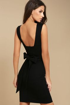 Nothing says party ready quite like the Glam Affair Black Bodycon Dress! This stretch knit LBD has wide straps (with no-slip strips) that support a plunging neckline, and seamed bodice with tying sash belt at the waist. Sexy bodycon skirt and hidden back zipper/clasp.
