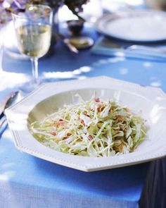 Yogurt, not mayonnaise, lends this crisp slaw its signature tang and lighter-than-usual consistency.