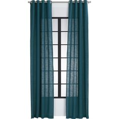 burlap blue-green curtain panel   CB2