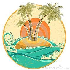 VIntage tropical island.Vector symbol seascape wit
