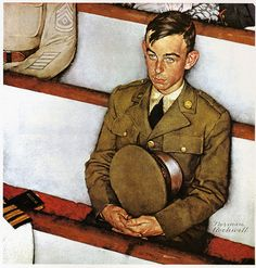 1942 - Willie Gillis in church - by Norman Rockwell Norman Rockwell Prints, Norman Rockwell Paintings, Caricatures, The Saturdays, Saturday Evening Post, Arte Pop, Vintage Magazines, Illustrations, Illustration Art
