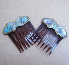 Vintage hair combs Mexican comb butterfy brass by ElrondsEmporium