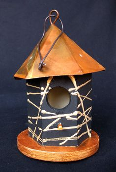 Black & Gold Abstract Mini Birdhouse by KrugsStudio on Etsy, $9.99