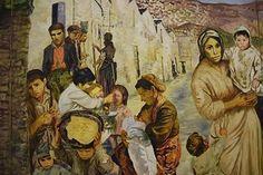 Carlo Levi (29 november 1902 – 4 januari 1975) Muurschildering in de Carlo Levi kamer in het Museo Palazzo Lanfranchi in Matera (detail)