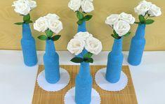 Kit Centro de Mesa Festa Garrafa Azul no Elo7 | Bebeca Artesanato (8989D3) Thing 1, Home Decor, Wedding Decoration, Recycled Bottles, Decorated Bottles, 15 Years, Centre, Events, Blue