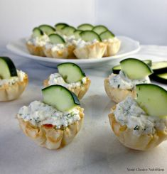 Cucumber Dill Ricotta Cups - Your Choice Nutrition Savory Snacks, Healthy Appetizers, Healthy Snacks, Snack Recipes, Healthy Recipes, Delicious Appetizers, Cooking Recipes, Philo Cups, Wedding Reception Appetizers
