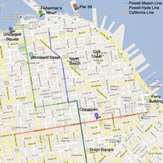 Three cable car lines run through San Francisco. The San Francisco cable car map above shows their routes - print it out and keep it on hand! San Francisco Travel Guide, San Francisco Map, San Francisco Vacation, San Francisco Cable Car, San Francisco Chinatown, Road Trip, California Dreamin', Northern California, Danville California