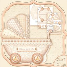 NEW BABY CREAM PRAM SHAPE CARD 3 Sheet Mini Kit on Craftsuprint designed by Janet Briggs - This kit creates a pram shaped card, for a New Baby Boy or Girl. It folds like a tent card and fits in an 8x8 envelope.Kit includes1. Base card, some decoupage elements2. Decoupage elements, sentiment tags3. Coordinating insertFull instruction sheet with diagrams is also included.Sentiment tags, include one blank. The other reads, Welcome Little One.The card is very quick and easy to make. It can be…