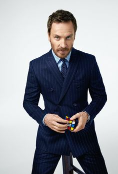 Michael Fassbender in a pinstripe Burberry suit for Esquire. Michael Fassbender, Gentleman Mode, Gentleman Style, Matthew Gray Gubler, James Mcavoy, Jake Gyllenhaal, Ryan Gosling, Esquire, Gq