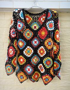Crochet Sweater Granny Square Long Sleeve Blouse Measurement: Bust: M (36-38) Length: 24  Crocheted in easy care acrylic yarn, machine wash cool,