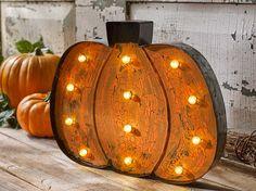 Decoupage - DIY Marquee Light Pumpkin