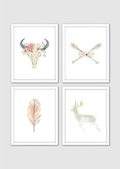 Watercolor Floral Bull Skull Prints, Deer Nursery Print, Antler Wall Art, Deer Skull Print, Bull Print, Tribal Room Decor, Boho Nursery Art by MintArtStudio on Etsy