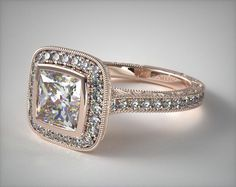 14K Rose Gold Hand Engraved Bezel Set Halo Engagement Ring with a Princess Cut Diamond | Rose Gold Engagement Rings | Pavé Engagement Rings | Unique Engagement Rings | Vintage Engagement Rings | James Allen ring style: 17442R14 | Click to see this ring in 360° HD! #engagementring