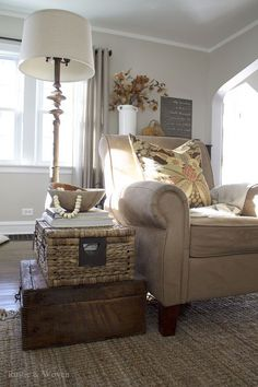Living Room Makeover Stacked Trunk End Table Rustic farmhouse