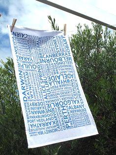 Mokoh Design - Australian Text Tea Towel