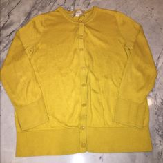 LOFT mustard yellow cardigan Loft size small mustard cardigan, great condition! Perfect for the office or over a dress! Awesome color, many compliments, 100% Pima cotton LOFT Tops Button Down Shirts