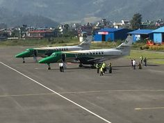 The small aircraft are ready to take off for Nepal #Himalayan #Flight.