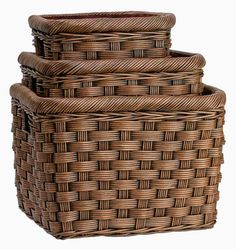 "A square version of our popular large size storage basket with our special ""five by five"" weave. Use it for a toy basket, firewood basket, laundry basket or a general storage basket Cut-in handles Includes a removable fabric liner Available in 3 sizes Finished in Antique Walnut Brown"