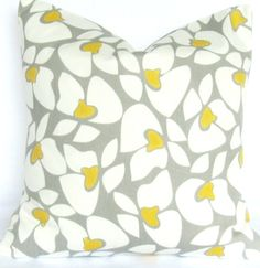 grey and yellow floral pillow. Cute fabric