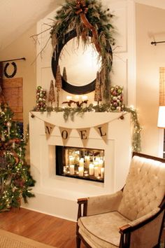 images two story mantle decorations | Mantel Swags Design Ideas, Pictures, Remodel, and Decor