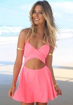 Pink Plain Cut Out Bandeau Halter Sleeveless Dress - Mini Dresses - Dresses