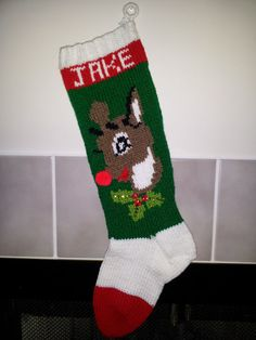 Hand Knitted Christmas Stocking Reindeer in Green by tracyward, $69.50