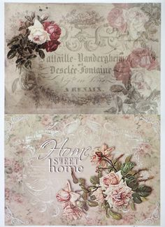 A/4 Classic Decoupage Paper Scrapbook Sheet Vintage Roses and Home