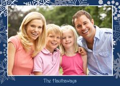 Silver Snowflakes On Blue Holiday Photo Card - Discount Greeting Cards