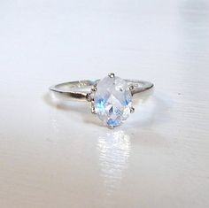 FINAL SALE 1.15 ct Natural Rainbow Moonstone Ring in 0.925 Sterling Silver
