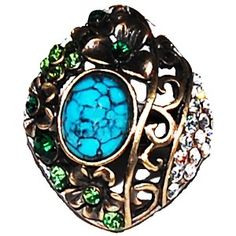 Turquoise Marble & Green Crystal Oval Ring - Vintage-Inspired Rings - Rings - Jewellery