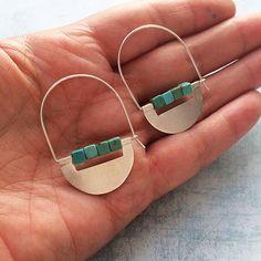 Sterling silver hoop earrings dangle and drop tribal