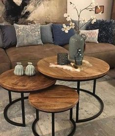 I love how these tables can slide into themselves. #table #home #homedecor #living #livingroom #affiliate