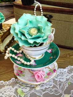blush mint greyed jade pantone emerald and gold antique tea cups and gilded flower cupcake