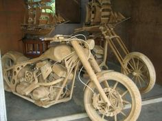 OK, so maybe it isn't a Harley, but you have to admit, it looks damned good! Craved out of wood.