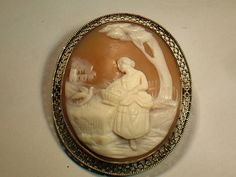 14K Gold Vintage Cameo Antique Cameo Pin by My3LadiesJewelry, $295.00