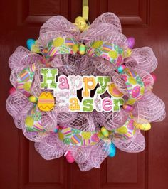 Large Pink Easter Egg Deco Mesh Wreath